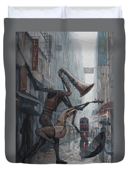 Life Is  Dance In The Rain Duvet Cover by Adrian Borda