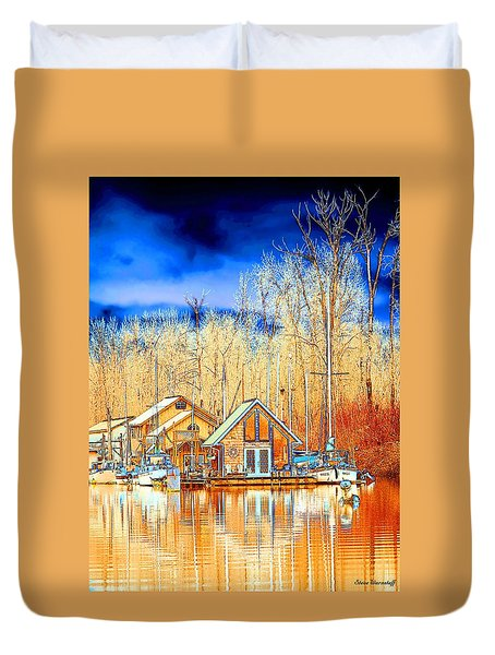 Life On The River Duvet Cover by Steve Warnstaff