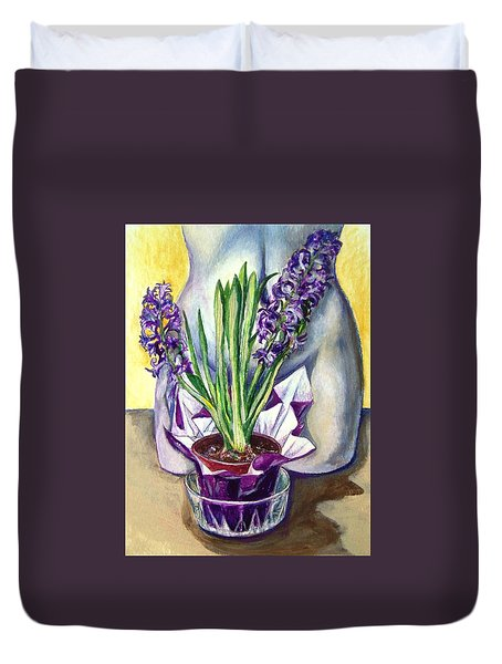 Duvet Cover featuring the drawing Life Spring by Laura Aceto