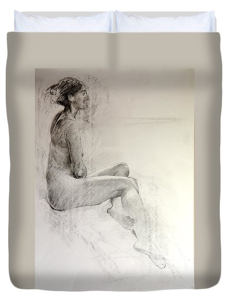 Duvet Cover featuring the drawing Life Study by Harry Robertson