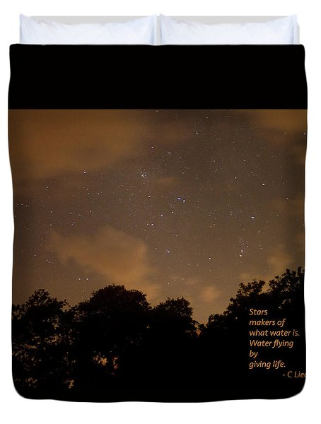 Life, Water And Stars Duvet Cover