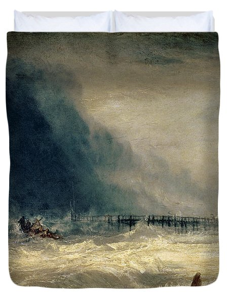 Lifeboat And Manby Apparatus Going Off To A Stranded Vessel Making Signal Of Distress Duvet Cover