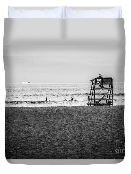 Lifeguard Number 5 Black And White Duvet Cover by Eleanor Abramson