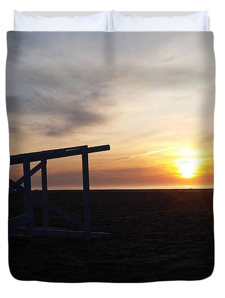 Lifeguard Stand And Sunrise Duvet Cover