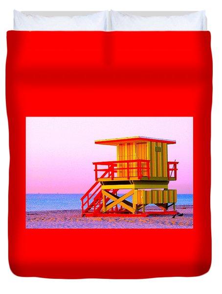 Lifeguard Stand Miami Beach Duvet Cover