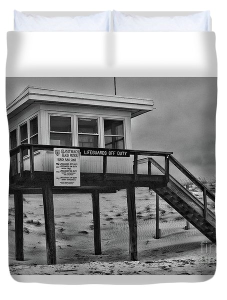 Lifeguard Station 1 In Black And White Duvet Cover