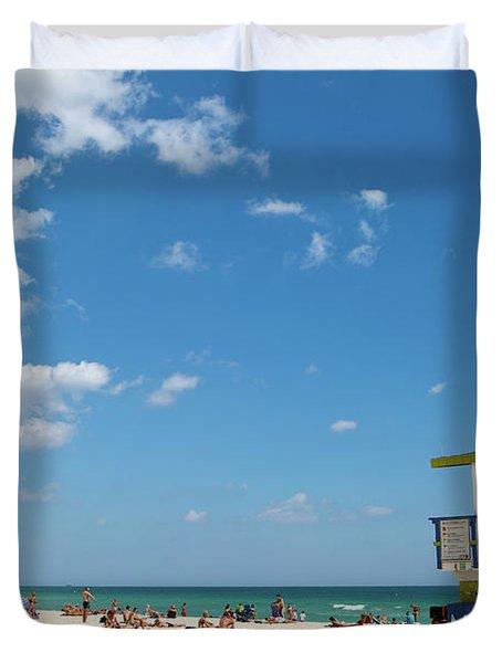 Lifeguard Station Miami Beach Florida Duvet Cover