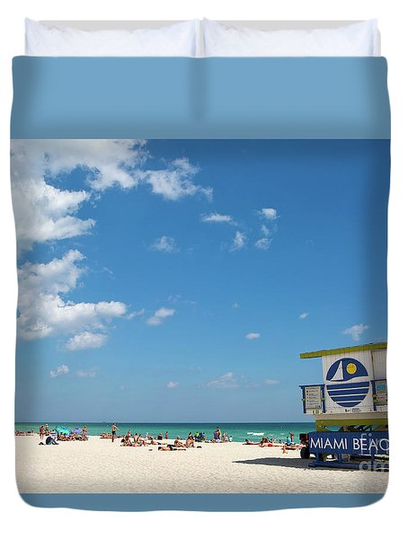 Duvet Cover featuring the photograph Lifeguard Station Miami Beach Florida by Steven Frame