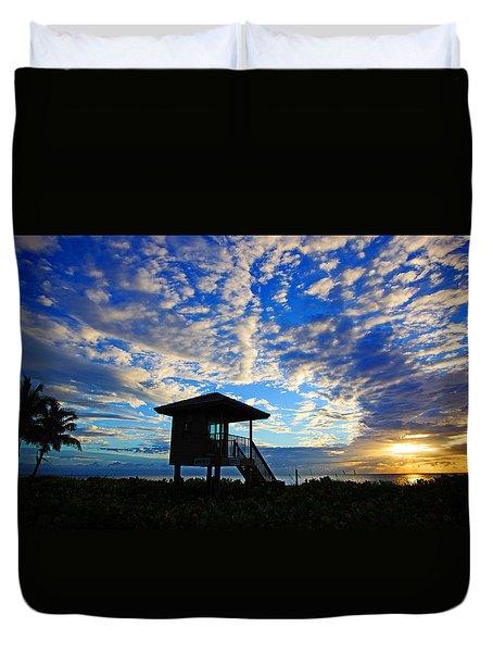 Lifeguard Station Sunrise Duvet Cover