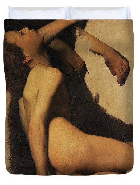 Lifeless Naked Young Man Duvet Cover