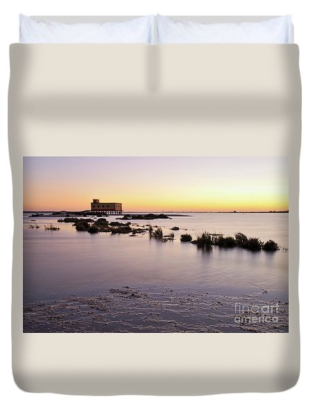 Lifesavers Building And Tides In Fuzeta Duvet Cover by Angelo DeVal
