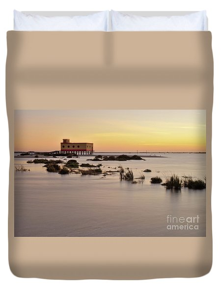 Lifesavers Building At Dusk In Fuzeta. Portugal Duvet Cover by Angelo DeVal