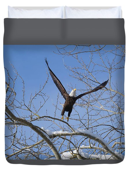 Duvet Cover featuring the photograph Lift Off by Jim  Hatch