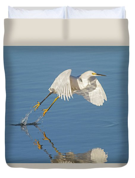 Lift Off- Snowy Egret Duvet Cover