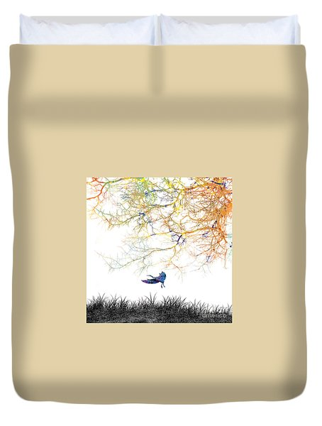 Duvet Cover featuring the painting Lift Off by Trilby Cole