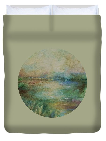 Duvet Cover featuring the painting Light After The Storm by Mary Wolf