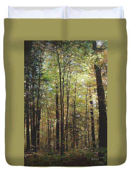 Duvet Cover featuring the photograph Light Among The Trees Vertical by Felipe Adan Lerma