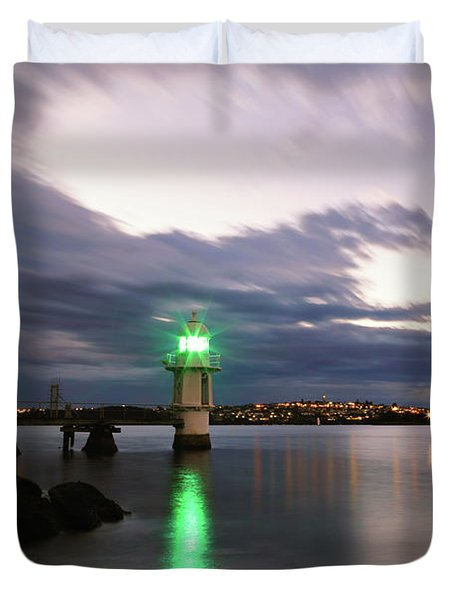 Duvet Cover featuring the photograph Light At Bradley's Head by Nicholas Blackwell
