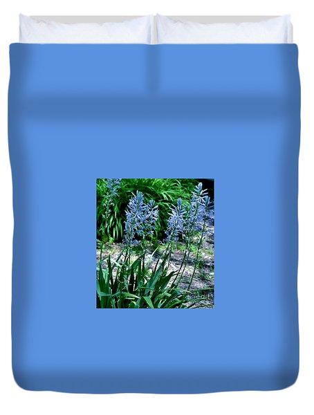 Light Blue Lace Duvet Cover by Marsha Heiken