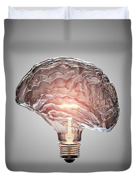 Light Bulb Brain Duvet Cover
