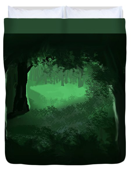Duvet Cover featuring the digital art Light In The Forest by Walter Chamberlain