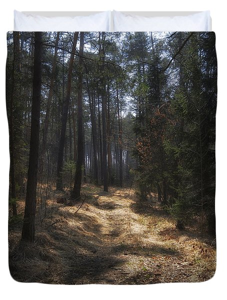 Duvet Cover featuring the photograph Light In The Wood by Raffaella Lunelli