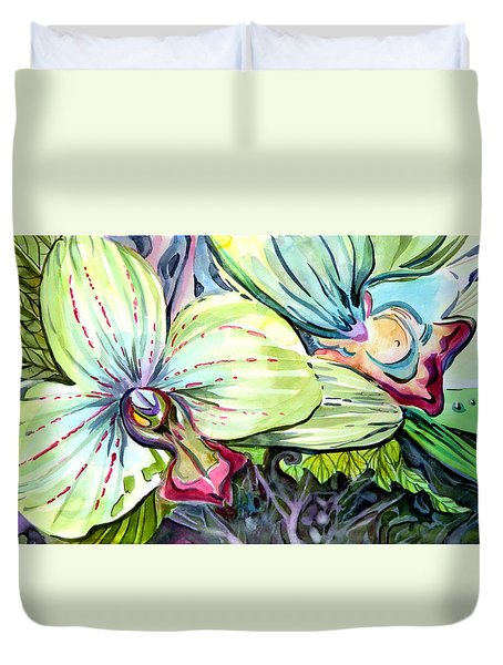 Light Of Orchids Duvet Cover by Mindy Newman