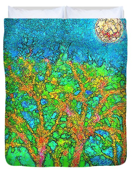 Duvet Cover featuring the digital art Light Of The Radiant Sun - Trees In Boulder County Colorado by Joel Bruce Wallach
