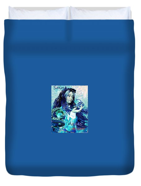 Duvet Cover featuring the painting Light Of Vietnam Saint Agnes by Suzanne Silvir