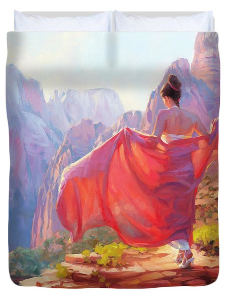 Duvet Cover featuring the painting Light Of Zion by Steve Henderson