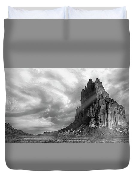 Duvet Cover featuring the photograph Light On Shiprock by Jon Glaser