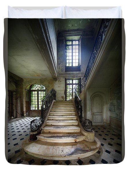 Duvet Cover featuring the photograph Light On The Stairs - Abandoned Castle by Dirk Ercken