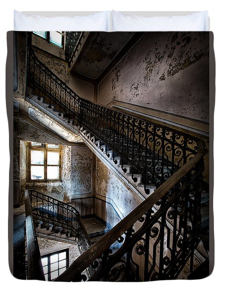 Light On The Stairs - Urban Exploration Duvet Cover