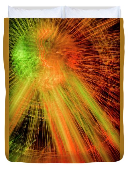 Light Painting At Night Duvet Cover