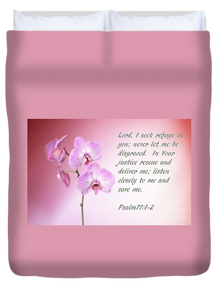Duvet Cover featuring the photograph Light Pink Orchid Psalms 71 by Linda Phelps