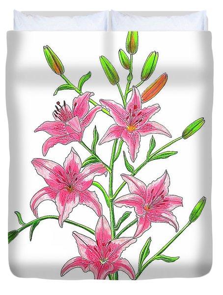 Light Pink Tiger Lily Duvet Cover