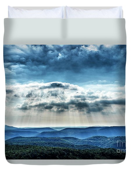 Duvet Cover featuring the photograph Light Rains Down by Thomas R Fletcher