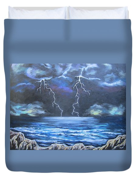 Duvet Cover featuring the painting Light Show by Cheryl Pettigrew