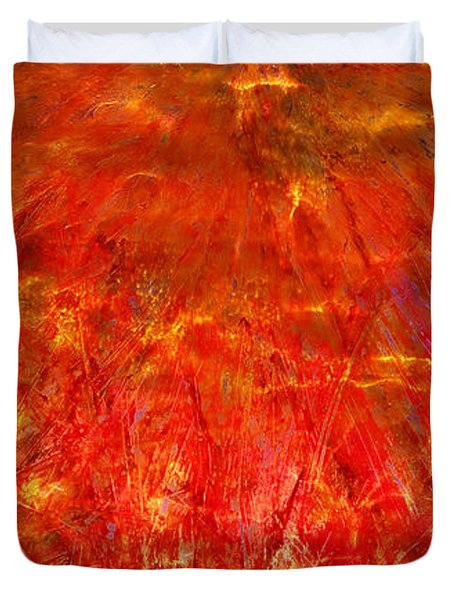 Duvet Cover featuring the mixed media Light Storm by Sami Tiainen