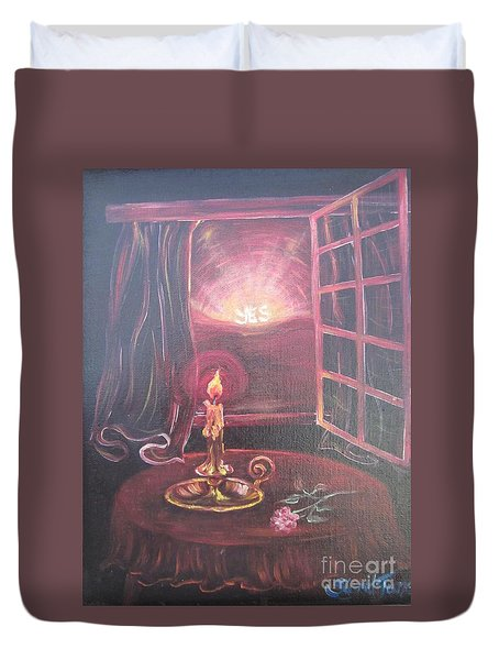 Flying Lamb Productions      Light The Yes Candle Duvet Cover