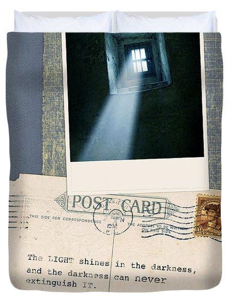 Light Through Window And Scripture Duvet Cover by Jill Battaglia