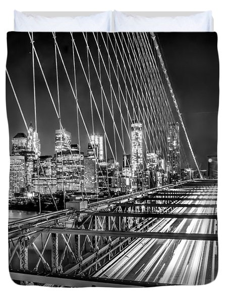 Light Trails Of Manhattan Duvet Cover