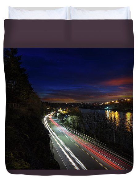 Light Trails On Highway 99 Duvet Cover by David Gn
