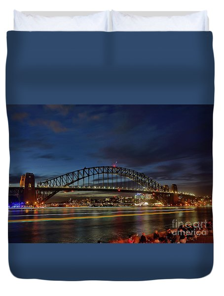Light Trails On The Harbor By Kaye Menner Duvet Cover