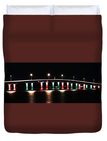 Lighted Bridge Duvet Cover by John Wartman