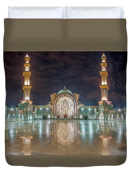 Duvet Cover featuring the photograph Lighted Federal Territory Mosque  by Pradeep Raja Prints