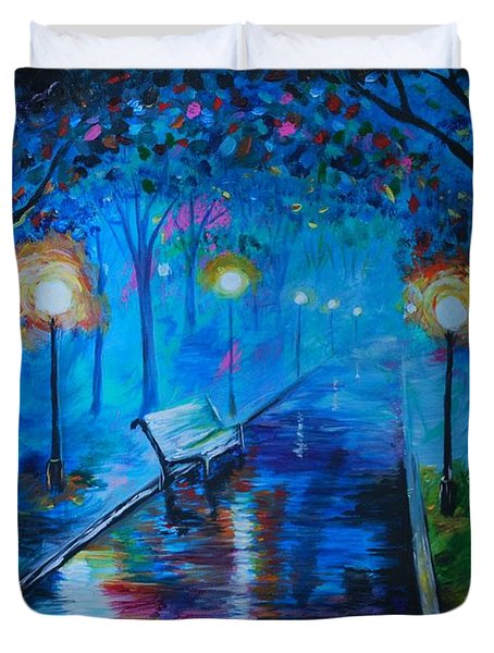 Lighted Parkway Duvet Cover by Leslie Allen