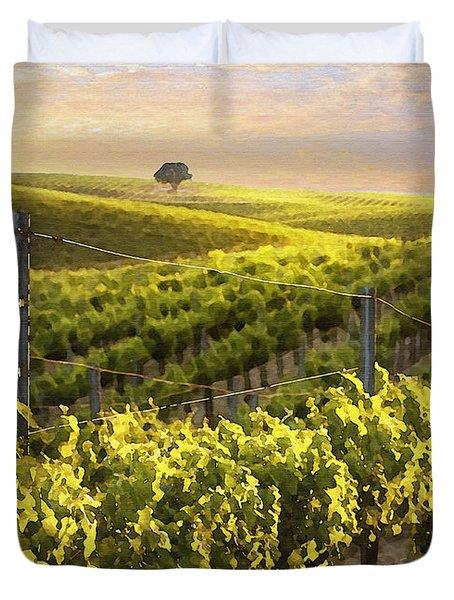 Lighted Vineyard Duvet Cover by Sharon Foster