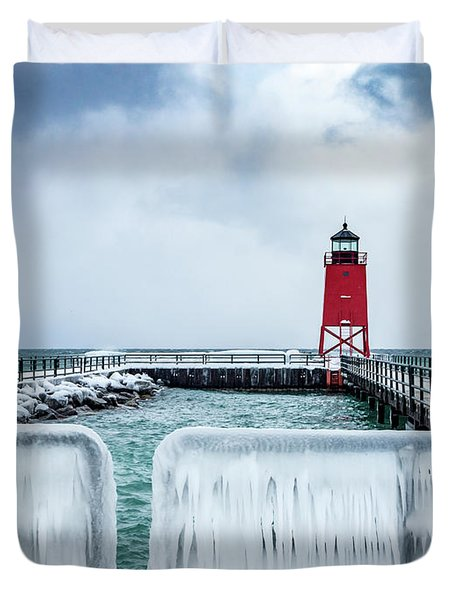 Lighthouse And Ice Duvet Cover