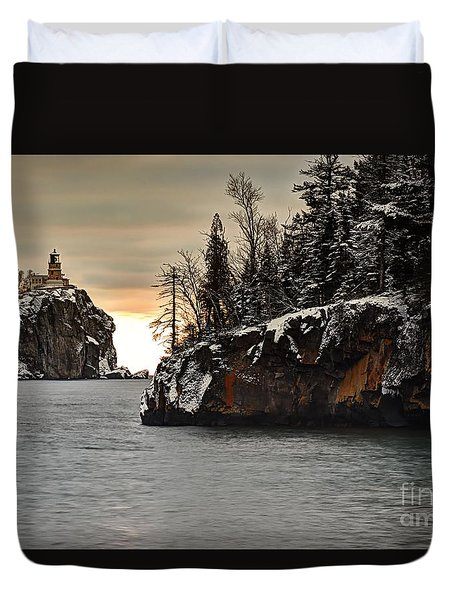 Lighthouse And Island At Dawn Duvet Cover